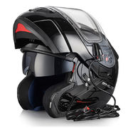 MT Atom flip-up helmet, black, with electric visor