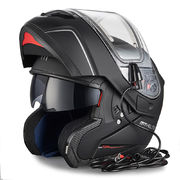MT Atom flip-up helmet, matt black, with electric visor