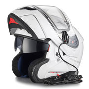 MT Atom flip-up helmet, white, with electric visor